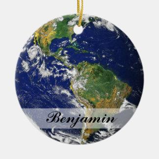 Planet Earth Ceramic Ornament