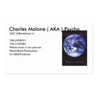 planet earth, Charles Malone ( AKA ) Psycho, 26... Double-Sided Standard Business Cards (Pack Of 100)