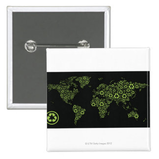 Planet earth composed of recycling symbols pins