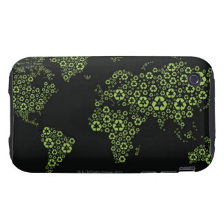 Planet earth composed of recycling symbols tough iPhone 3 case