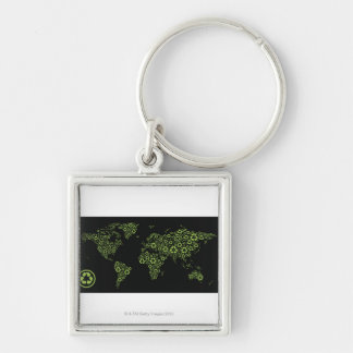 Planet earth composed of recycling symbols keychain