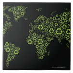 Planet earth composed of recycling symbols large square tile