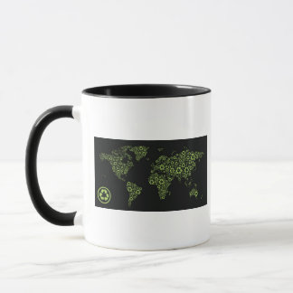 Planet earth composed of recycling symbols mug