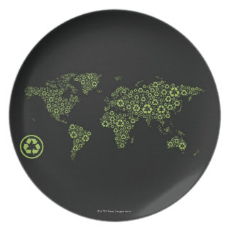 Planet earth composed of recycling symbols party plates