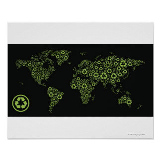 Planet earth composed of recycling symbols poster