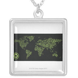 Planet earth composed of recycling symbols silver plated necklace
