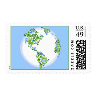 Planet Earth Eco Recycle Postage Stamps