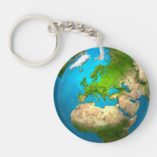 Planet Earth - Europe - Colorful Globe. 3d Render Keychain