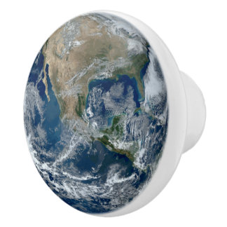 Planet Earth from Outer Space with Clouds Ceramic Knob