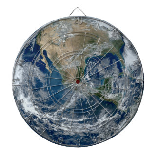 Planet Earth from Outer Space with Clouds Dartboard With Darts