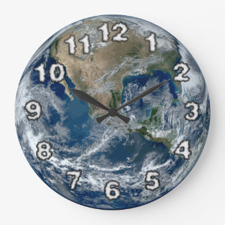 Planet Earth from Outer Space with Clouds Large Clock
