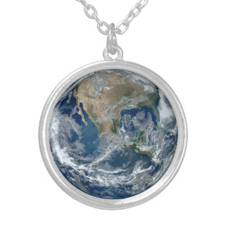 Planet Earth from Outer Space with Clouds Round Pendant Necklace