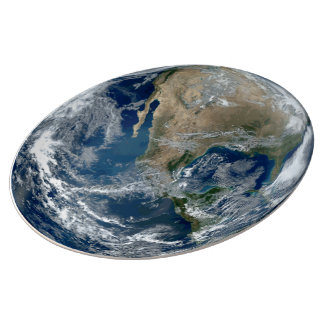 Planet Earth from Outer Space with Clouds Porcelain Plate