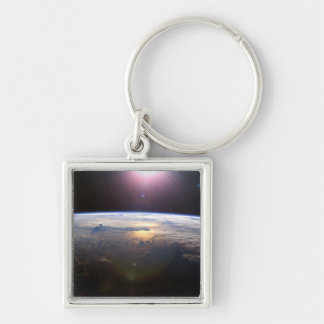 Planet Earth From Space Silver-Colored Square Keychain