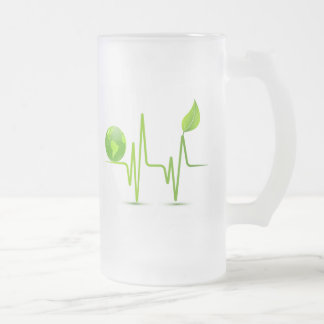PLANET EARTH HEART MONITOR FROSTED GLASS BEER MUG