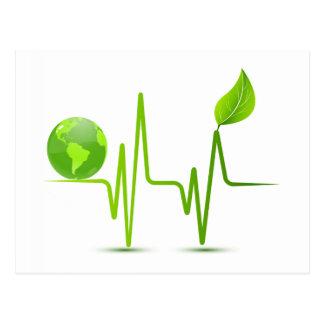 PLANET EARTH HEART MONITOR POSTCARD