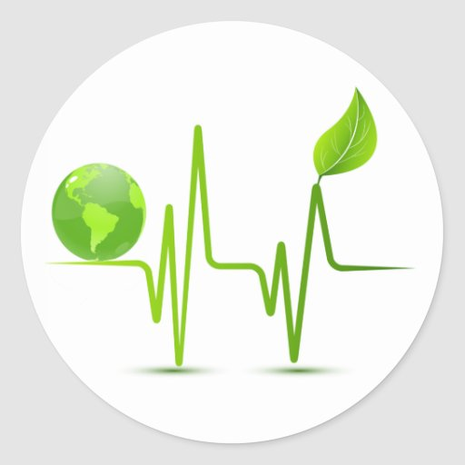 PLANET EARTH HEART MONITOR ROUND STICKERS