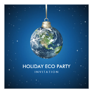 Planet Earth Holiday Christmas party invitation
