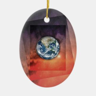Planet Earth In Space Ceramic Ornament