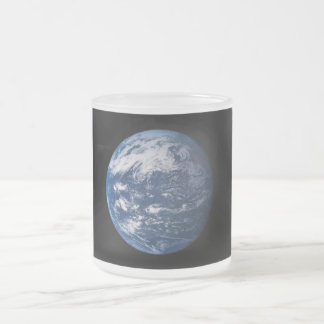 Planet Earth Looking At The Pacific Ocean Frosted Glass Coffee Mug