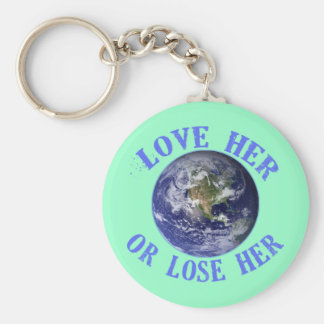 Planet Earth, Love Her or Lose Her T shirts, Totes Basic Round Button Keychain