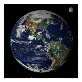 Planet Earth Moon Poster