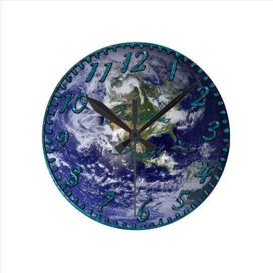 Planet Earth & Night Sky Astronomy Wall Clock