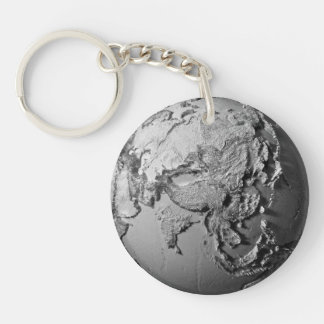 Planet Earth On White Background - Asia, 3d Keychain