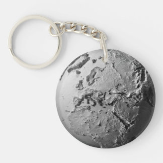 Planet Earth On White Background - Europe, 3d Double-Sided Round Acrylic Keychain