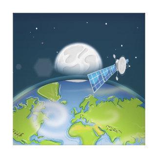 Planet Earth orbiting Satellite Canvas Print