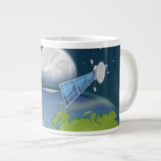 Planet Earth orbiting Satellite Giant Coffee Mug