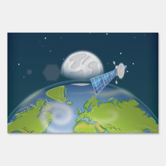 Planet Earth orbiting Satellite Lawn Sign
