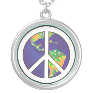 Planet Earth Peace Sign Necklace