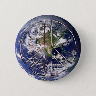Planet Earth Peace Sign Pinback Button