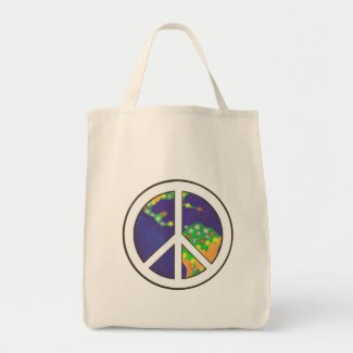 Planet Earth Peace Sign, Tote Bags