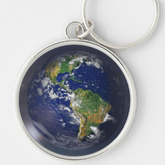 Planet earth rising above the sun in space keychain