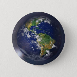 Planet earth rising above the sun in space pinback button