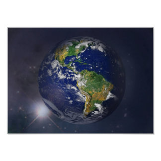 Planet earth rising above the sun in space poster