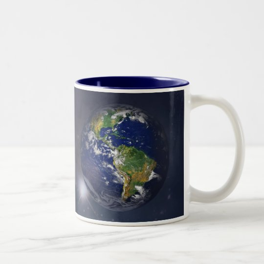 Planet earth rising above the sun in space Two-Tone coffee mug