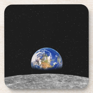 Planet earth rising over Moon Beverage Coaster