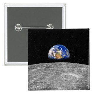 Planet earth rising over Moon Button