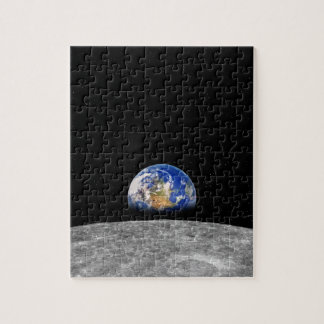 Planet earth rising over Moon Jigsaw Puzzle