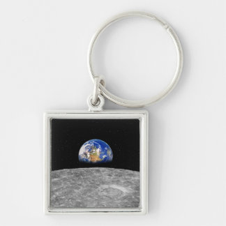 Planet earth rising over Moon Keychain