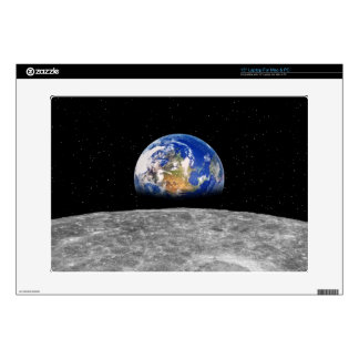 Planet earth rising over Moon Laptop Decal