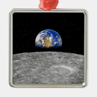 Planet earth rising over Moon Metal Ornament