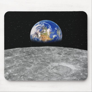 Planet earth rising over Moon Mousepads