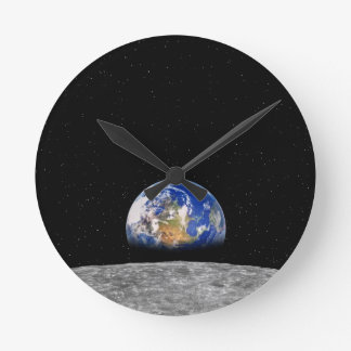 Planet Earth Rising Over Moon Round Wallclock
