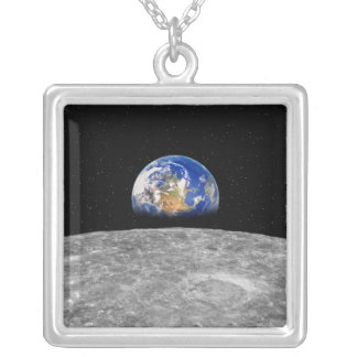 Planet earth rising over Moon Silver Plated Necklace