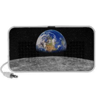 Planet earth rising over Moon iPod Speaker