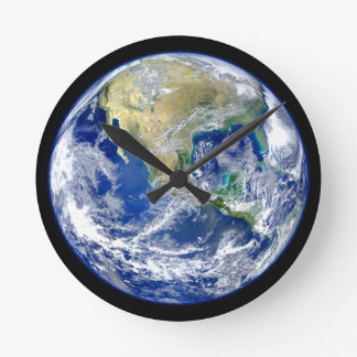 Planet Earth Round Clock